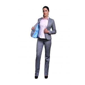 Light grey herringbone jacket and pants