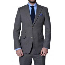 Brown Grey Herringbone Cashmere