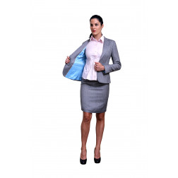 Light grey herringbone jacket and skirt cashmere